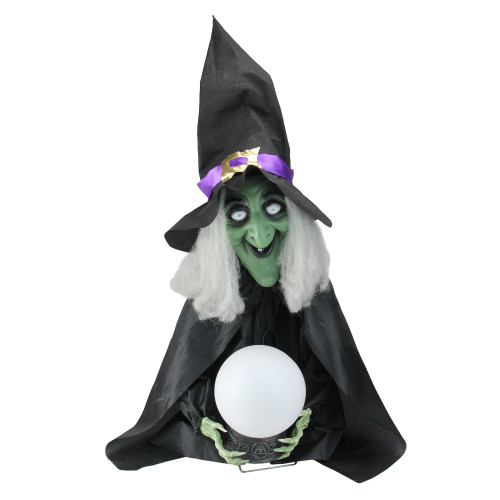 """26"""" Pre-Lit Black and Green Sitting Fortune Witch with Magic Ball Halloween Decor - IMAGE 1"""