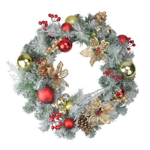 Red and Gold Ornaments with Berries Artificial Christmas Wreath - 24-Inch, Unlit - IMAGE 1