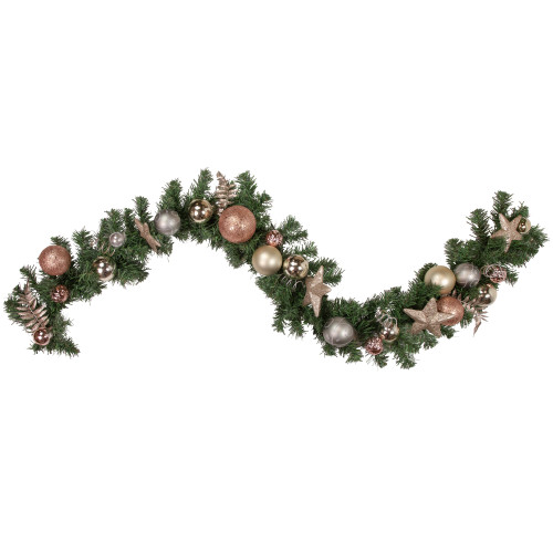 "6' x 12"" Green and Gold Leaves Ornaments with Stars Artificial Christmas Garland - Unlit - IMAGE 1"