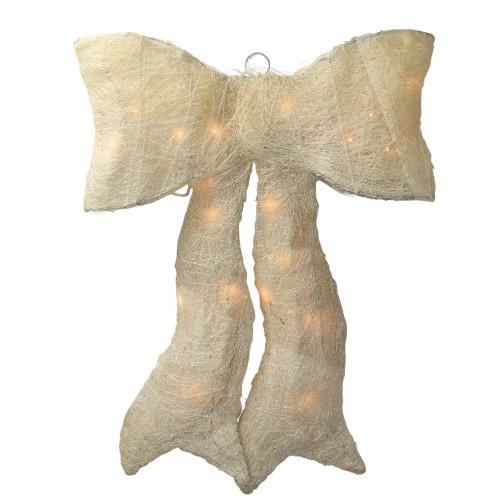 "18"" Cream White Lighted Sparkling Bow Hanging Christmas Yard Decor - IMAGE 1"