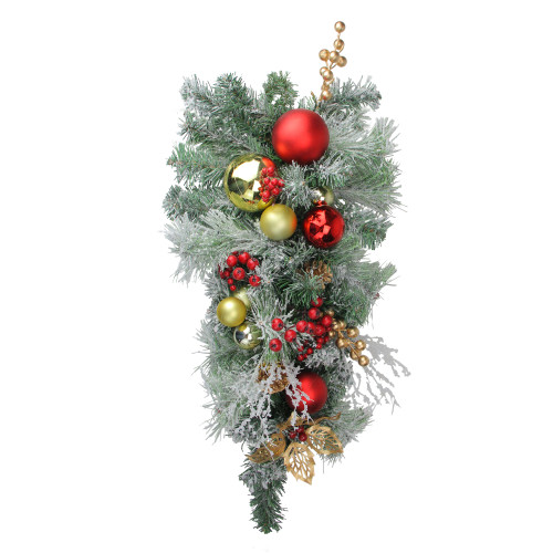"""24"""" Red and Gold Flocked Artificial Christmas Teardrop Swag - Unlit - IMAGE 1"""