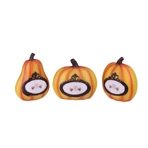 "Set of 3 Orange and Black Pumpkin Thanksgiving Tabletop Decors 5.5"" - IMAGE 1"