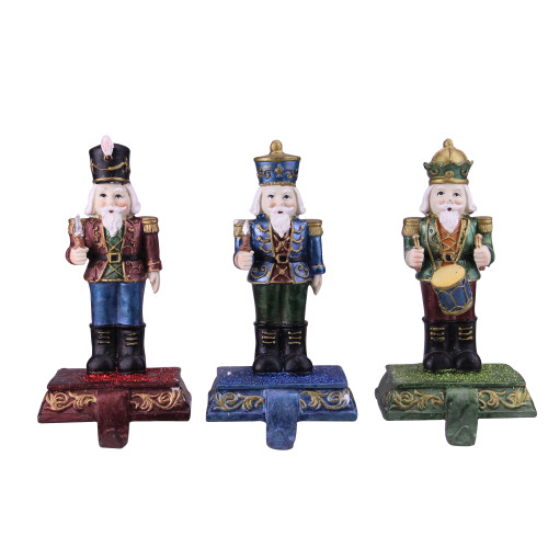 """Set of 3 Blue, Red and Green Glittered Nutcracker Stocking Holders 7.75"""" - IMAGE 1"""