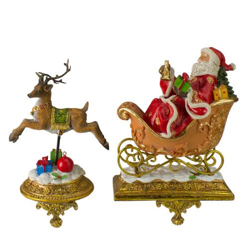 "Set of 2 Gold Santa and Reindeer Glittered Christmas Stocking Holders 9.5"" - IMAGE 1"