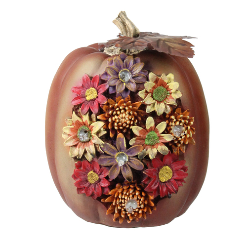 """7.75"""" Brown and Red LED Solar Powered Floral Pumpkin Thanksgiving Tabletop Decor - IMAGE 1"""
