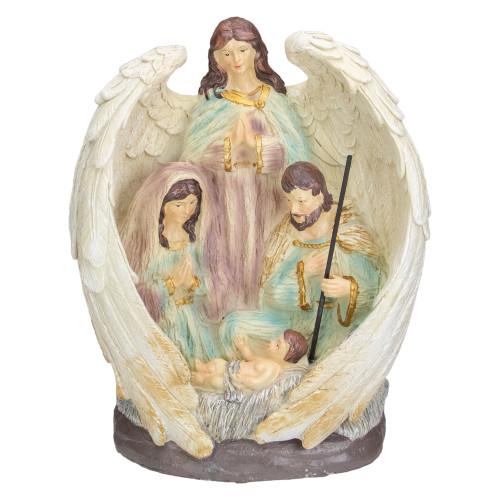 "11.25"" Holy Family and Angel Christmas Nativity Decoration - IMAGE 1"