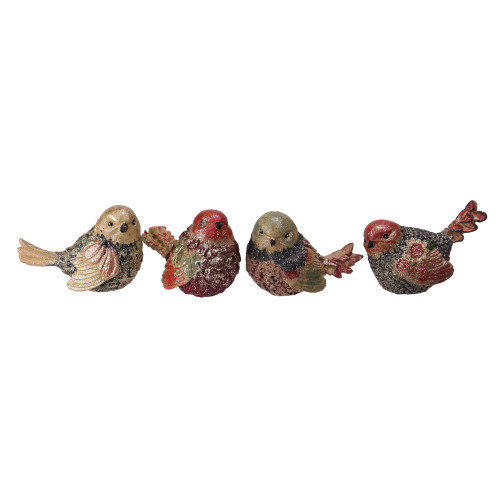 """Set of 4 Red, Green and Gold Glittered Bird Figurine Autumn Table Decorations 5"""" - IMAGE 1"""