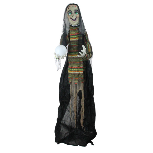 5.5' Pre-Lit Black and Green Standing Fortune Witch with Magic Ball Halloween Display - IMAGE 1