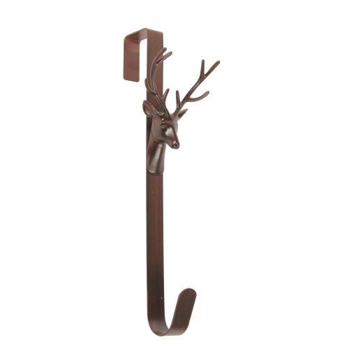 """15.25"""" Brown Rustic Deer Over the Door Christmas Wreath Hanger - IMAGE 1"""