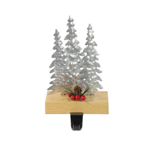 """8.5"""" Silver and Red Wooden Christmas Trees Stocking Holder - IMAGE 1"""