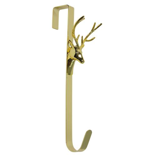 """15.25"""" Shiny Gold Deer Over the Door Christmas Wreath Hanger - IMAGE 1"""