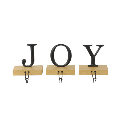 """Set of 3 Metal and Wood """"JOY"""" Weighted Christmas Stocking Holder 6"""" - IMAGE 1"""