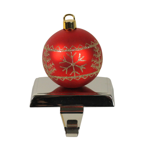 """5.5"""" Red and Gold Snowflake and Christmas Tree Ball Ornament Stocking Holder - IMAGE 1"""