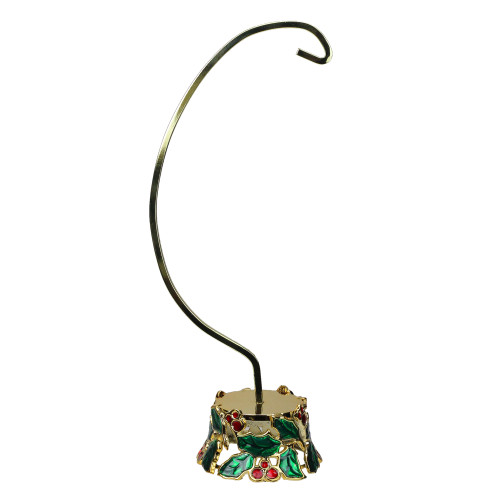 """12.25"""" Holly and Berries Gold Christmas Ornament Holder - IMAGE 1"""