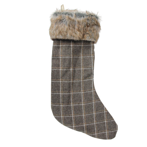 "17.5"" Gray and Brown Plaid Christmas Stocking with Cuff - IMAGE 1"