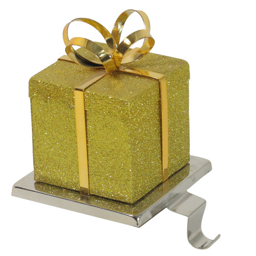 """6"""" Silver and Gold Glittered Gift Box Christmas Stocking Holder - IMAGE 1"""