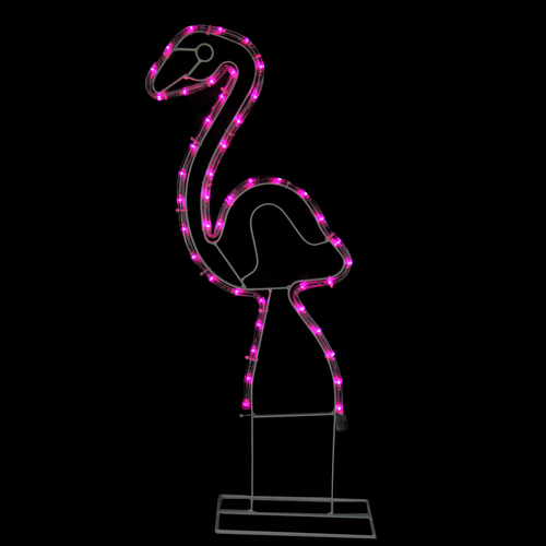 """24"""" Pink Flamingo LED Rope Light Silhouette Summer Outdoor Decoration - IMAGE 1"""