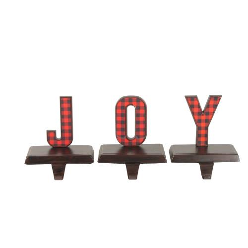 """Set of 3 Red and Black Buffalo Plaid """"JOY"""" Christmas Stocking Holder 6"""" - IMAGE 1"""