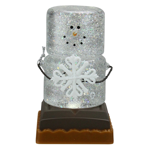 """6.75"""" LED Lighted S'mores Figure Holding Snowflake Christmas Snow Globe Gliiterdome - IMAGE 1"""