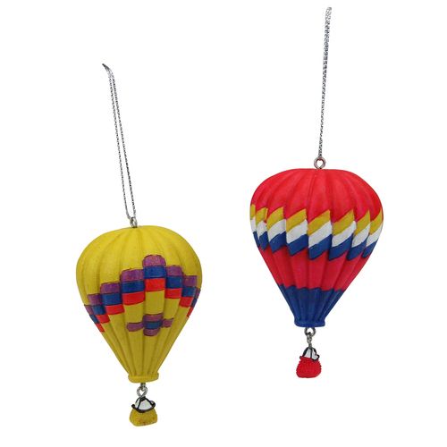 """Set of 2 Red and Yellow Hot Air Balloons Christmas Ornaments 3.75"""" - IMAGE 1"""