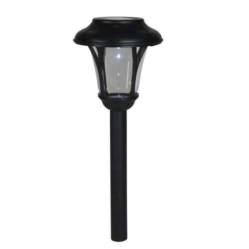 "12"" Black Lantern Solar Light with White LED Light and Lawn Stake - IMAGE 1"