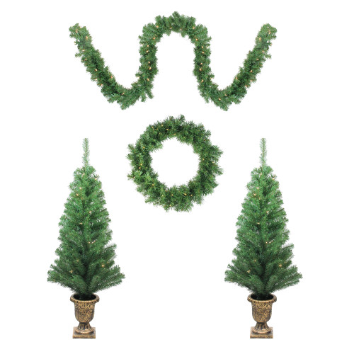 5-Piece Pre-Lit Artificial Winter Spruce Christmas Trees, Wreath and Garland Set - Clear Lights - IMAGE 1