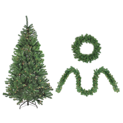 4-Piece Artificial Winter Spruce Christmas Tree, Wreath and Garland Set 6.5' - Clear Lights - IMAGE 1