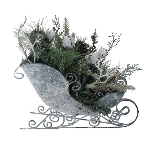 """9.5"""" Gray and Green Frosted Christmas Pinecone, Bell and Foliage Filled Tabletop Sleigh - IMAGE 1"""