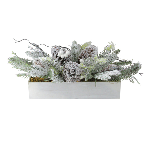 """19.5"""" White and Green Berries with Foliage Christmas Tabletop Decor - IMAGE 1"""