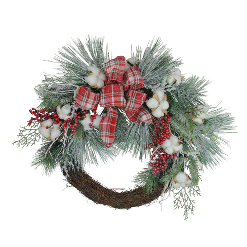 Holly Berry Red and Green Artificial Christmas Wreath - 24-Inch, Unlit - IMAGE 1