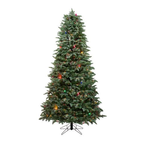 7.5' Pre-Lit Slim Flocked Dunton Spruce Artificial Christmas Tree - Multi-Color Lights - IMAGE 1