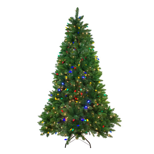 6.5' Pre-Lit Medium Huron Pine Artificial Christmas Tree - Multicolor Lights - IMAGE 1