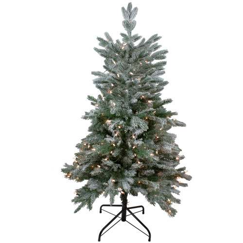 4.5' Pre-Lit Flocked Whistler Noble Fir Artificial Christmas Tree - Clear Lights - IMAGE 1