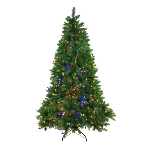 7.5' Pre-Lit Medium Huron Pine Artificial Christmas Tree - Dual Color LED Lights - IMAGE 1