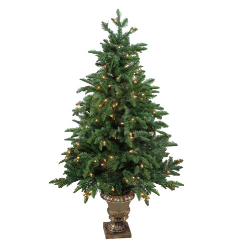 4.5' Pre-Lit Potted Sierra Norway Spruce Slim Artificial Christmas Tree - Clear Lights - IMAGE 1