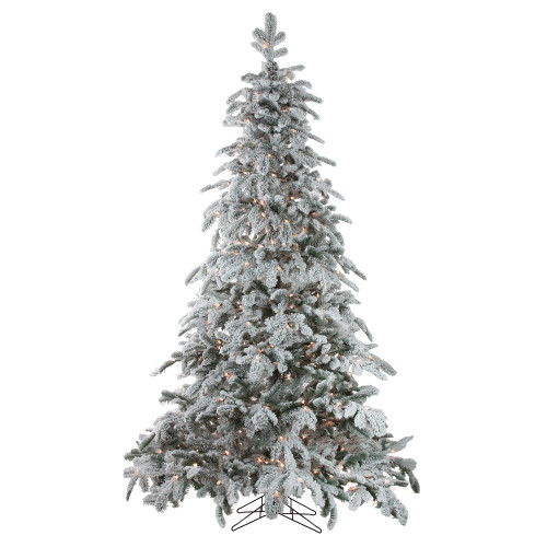 7.5' Pre-Lit Full Flocked Whistler Noble Fir Artificial Christmas Tree - Clear Lights - IMAGE 1