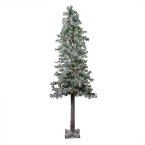 """6"""" Lightly Flocked Glittered Woodland Alpine Artificial Christmas Tree - Clear Lights - IMAGE 1"""