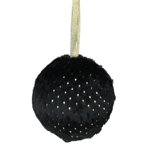 """Black and Gold Dots Traditional Christmas Ball Ornament 4"""" (101mm) - IMAGE 1"""