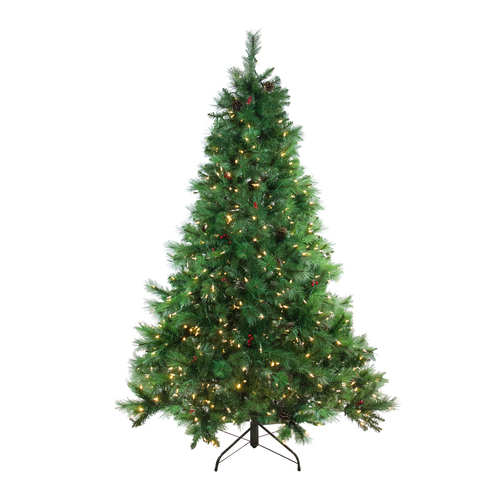 6.5' Pre-Lit Full Denali Mixed Pine Artificial Christmas Tree - Multicolor Dual LED Lights - IMAGE 1