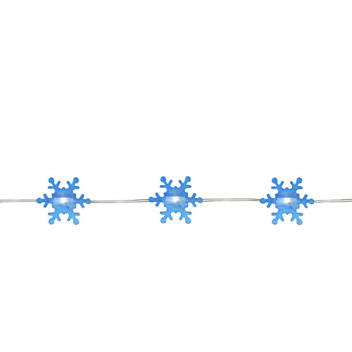 20-Count Warm Sky Blue Snowflake LED Christmas Fairy Lights, 6ft Copper Wire - IMAGE 1