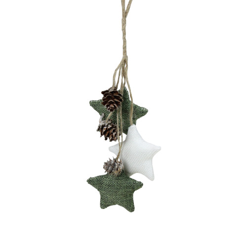 """11.8"""" White and Green Burlap Star and Pine Cone Christmas Ornament - IMAGE 1"""