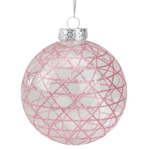 """Glittered Clear and Pink Geometric Glass Christmas Ball Ornament 3.75"""" (95mm) - IMAGE 1"""