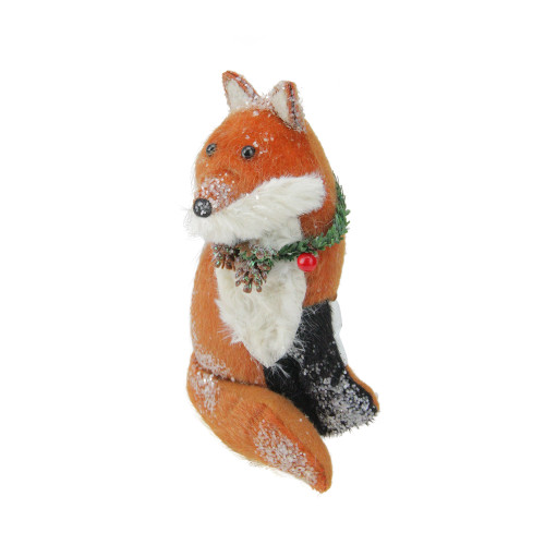 """6.5"""" Brown and White Hanging Stuffed Fox Christmas Ornament - IMAGE 1"""