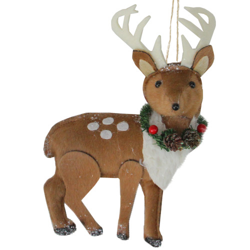 """8"""" Brown and White Spot Reindeer with Antlers Christmas Ornament - IMAGE 1"""