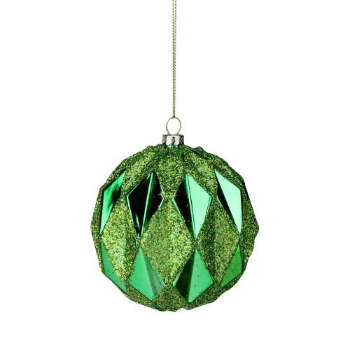 "Green Diamond Cut 2-Finish Glass Christmas Ball Ornament 4"" (100mm) - IMAGE 1"