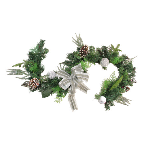 "6' x 11"" Bow and Pine Cone Artificial Christmas Garland - Unlit - IMAGE 1"