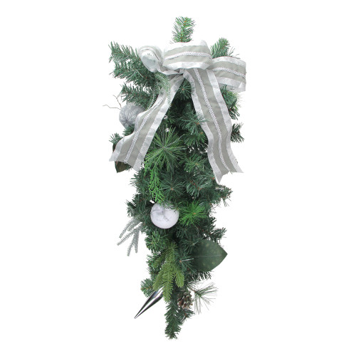 "32"" White Bow and Pine Cone Artificial Christmas Teardrop Swag - Unlit - IMAGE 1"