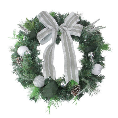 Bow and Pine Cone Artificial Christmas Wreath - 24-Inch, Unlit - IMAGE 1
