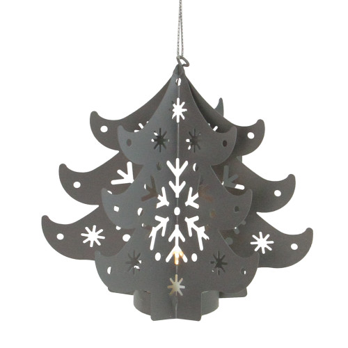 """4.5"""" Prelit Gray Cut Out Tree Christmas Ornament - IMAGE 1"""