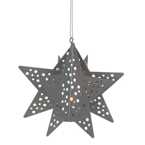 """5"""" Pre-Lit Gray Cut Out Star Hanging Christmas Ornament - IMAGE 1"""
